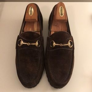4f8c37257 Gucci. Gucci gold horsebit loafers, brown suede, men's